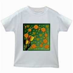 Background Design Texture Tulips Kids White T Shirts