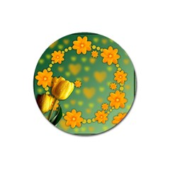 Background Design Texture Tulips Magnet 3  (round) by Nexatart