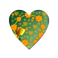 Background Design Texture Tulips Heart Magnet