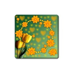 Background Design Texture Tulips Square Magnet