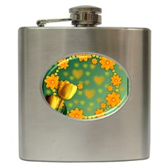 Background Design Texture Tulips Hip Flask (6 Oz)