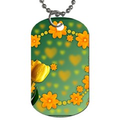Background Design Texture Tulips Dog Tag (two Sides)