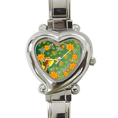 Background Design Texture Tulips Heart Italian Charm Watch