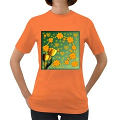 Background Design Texture Tulips Women s Dark T Shirt