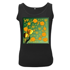 Background Design Texture Tulips Women s Black Tank Top