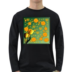 Background Design Texture Tulips Long Sleeve Dark T Shirt