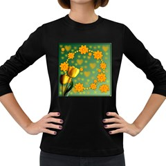 Background Design Texture Tulips Women s Long Sleeve Dark T Shirt
