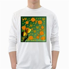 Background Design Texture Tulips Long Sleeve T Shirt