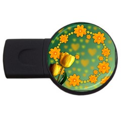 Background Design Texture Tulips Usb Flash Drive Round (4 Gb)