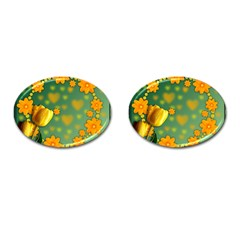 Background Design Texture Tulips Cufflinks (oval)