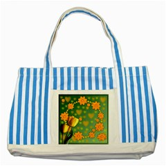 Background Design Texture Tulips Striped Blue Tote Bag