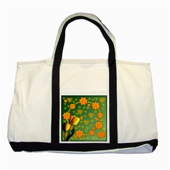 Background Design Texture Tulips Two Tone Tote Bag