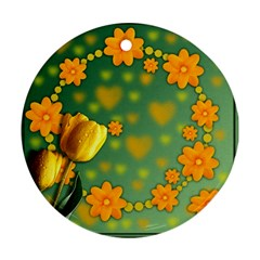 Background Design Texture Tulips Round Ornament (two Sides)
