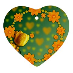 Background Design Texture Tulips Heart Ornament (two Sides)