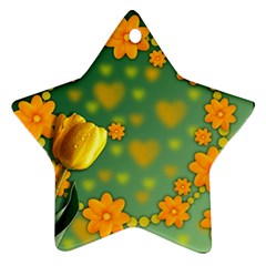 Background Design Texture Tulips Star Ornament (two Sides)