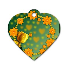 Background Design Texture Tulips Dog Tag Heart (two Sides)