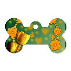 Background Design Texture Tulips Dog Tag Bone (two Sides)