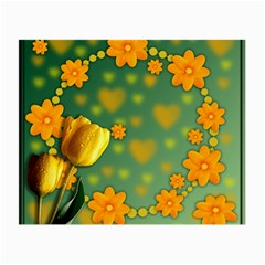 Background Design Texture Tulips Small Glasses Cloth (2 Side)