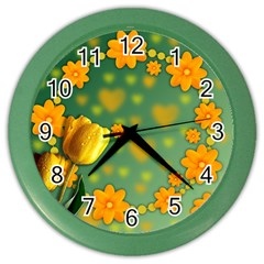 Background Design Texture Tulips Color Wall Clock