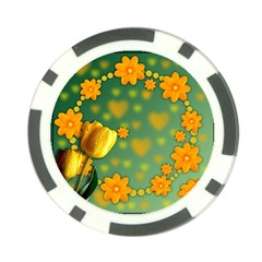 Background Design Texture Tulips Poker Chip Card Guard