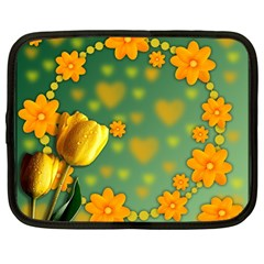 Background Design Texture Tulips Netbook Case (large) by Nexatart