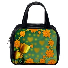 Background Design Texture Tulips Classic Handbag (one Side)