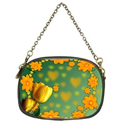 Background Design Texture Tulips Chain Purse (two Sides)