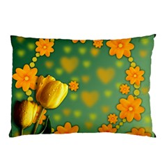 Background Design Texture Tulips Pillow Case