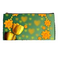 Background Design Texture Tulips Pencil Cases