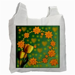 Background Design Texture Tulips Recycle Bag (two Side)