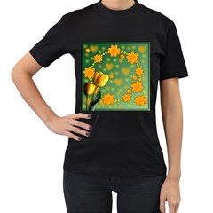 Background Design Texture Tulips Women s T Shirt (black)
