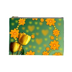 Background Design Texture Tulips Cosmetic Bag (large)