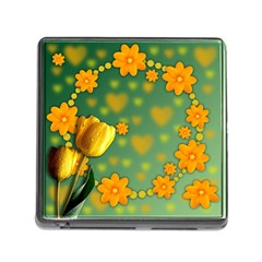 Background Design Texture Tulips Memory Card Reader (square 5 Slot)