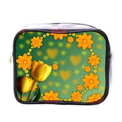 Background Design Texture Tulips Mini Toiletries Bag (one Side)