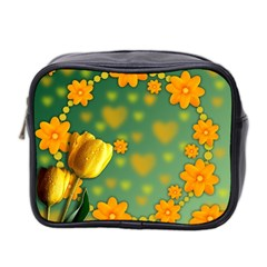 Background Design Texture Tulips Mini Toiletries Bag (two Sides)