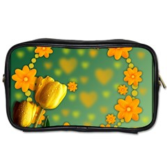Background Design Texture Tulips Toiletries Bag (two Sides)