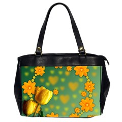 Background Design Texture Tulips Oversize Office Handbag (2 Sides)
