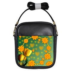 Background Design Texture Tulips Girls Sling Bag