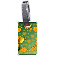 Background Design Texture Tulips Luggage Tags (one Side)