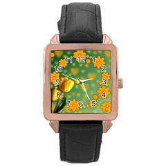 Background Design Texture Tulips Rose Gold Leather Watch