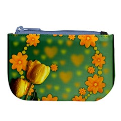 Background Design Texture Tulips Large Coin Purse