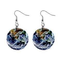 Spherical Science Fractal Planet Mini Button Earrings by Nexatart