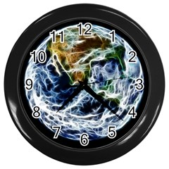Spherical Science Fractal Planet Wall Clock (black) by Nexatart