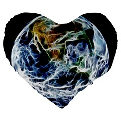 Spherical Science Fractal Planet Large 19  Premium Flano Heart Shape Cushions by Nexatart