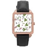 Christmas Santa Claus Decoration Rose Gold Leather Watch  Front