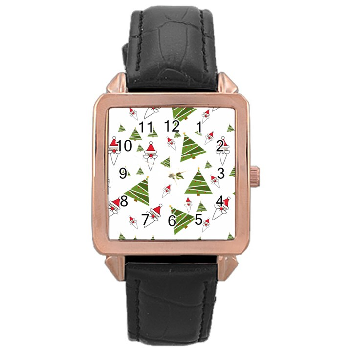 Christmas Santa Claus Decoration Rose Gold Leather Watch
