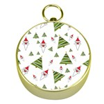Christmas Santa Claus Decoration Gold Compasses Front