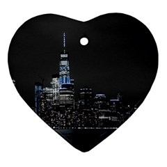 New York Skyline New York City Ornament (heart) by Nexatart