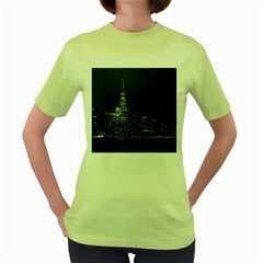 New York Skyline New York City Women s Green T Shirt