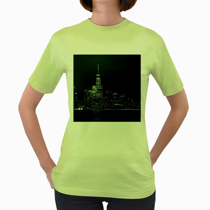 New York Skyline New York City Women s Green T-Shirt